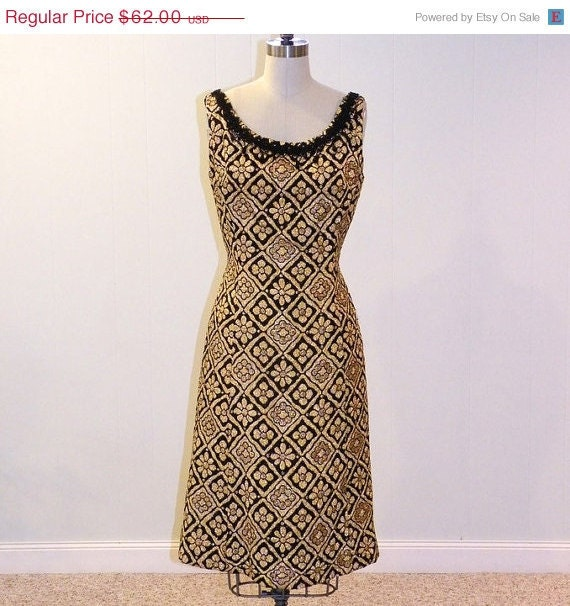 ON SALE Vintage 1960s Dress, Black & Gold Metallic Floral Print Cocktail Wiggle Party Dress, Beaded Soutache Trim, Bombshell Chic