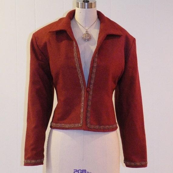Antique Vintage Burgundy Wool Blazer Coat, Maroon Wool Blazer, Braided Silk Soutache & Velveteen Ribbon Trim, Antique Jacket Excellent