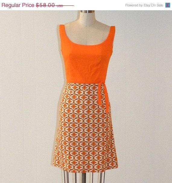 Vintage 60s Dress, Orange Floral Print Lanz Wiggle Day Dress, Plunging Scoop Back, Sash Belt, Fitted, XS