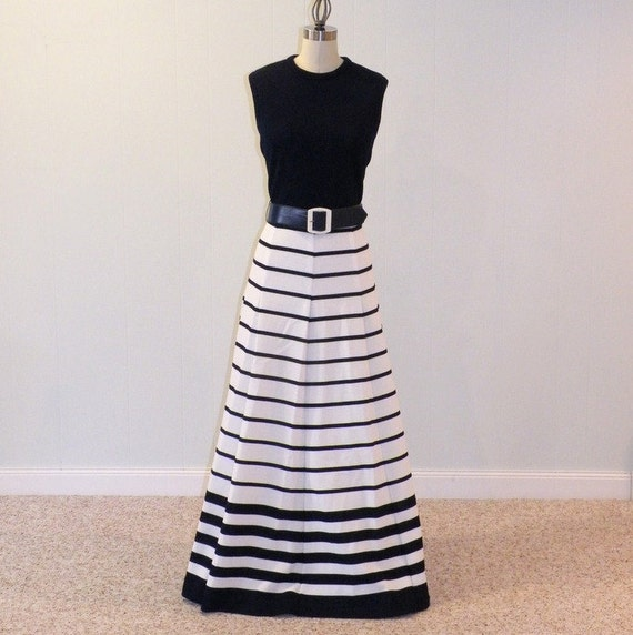 Vintage 60s Dress / 70s Dress, Navy Blue & White Striped Butte Knit Sleeveless Maxi Dress, Chunky Belted Waist, Fabulous Full Maxi Skirt