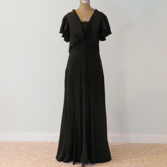 1930s 30s Dress, Black Silk Rayon Bias Cut Full Length Party Evening Dress, Cascading Flutter Sleeves, Lace Insert, Old Hollywood Art Deco