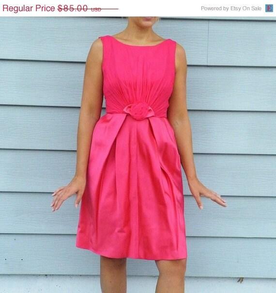 1960s Dress / 60s Dress, Hot Pink Satin & Chiffon Wiggle Cocktail Wedding Party Dress, Tulip Skirt Rose Flower Accent, Vintage Bombshell