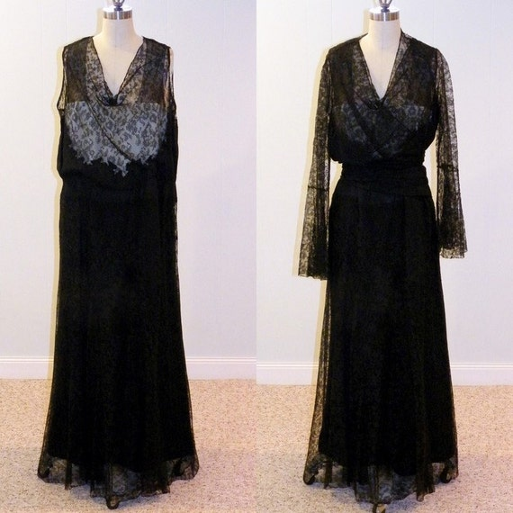 1930s Dress Set, Vintage 30s Black Floral Net Lace Silk Illusion Full Length Party Evening Gown & Bolero Wrap, Art Deco Old Hollywood Large