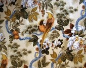 Beautiful Vintage Flocked Velvet Bird Upholstery Fabric