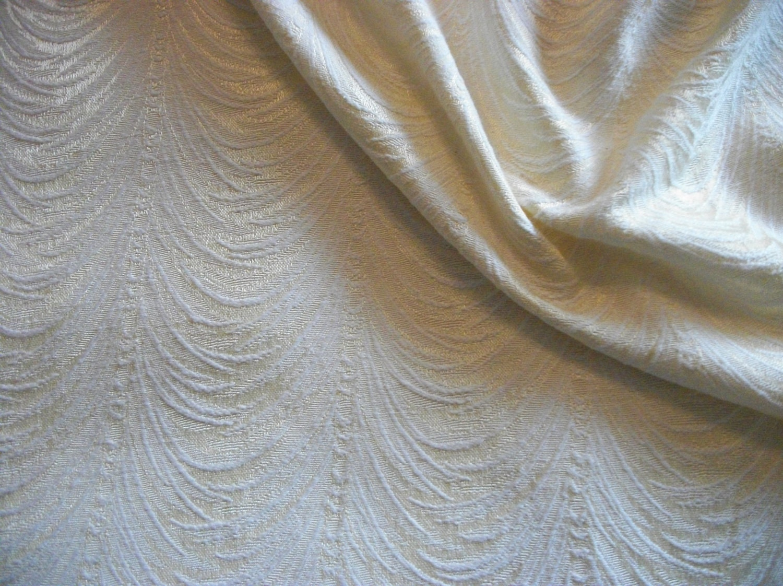 Vintage brocade silk upholstery fabric cream by enduringfabric