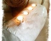 Modern White Fireplace Tealight Log
