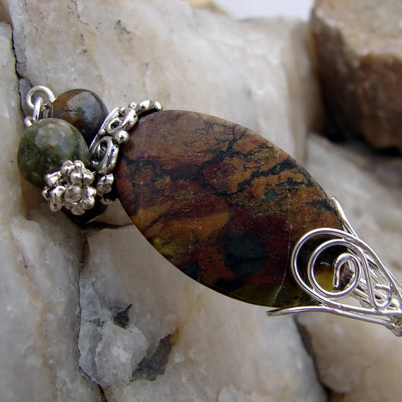Brown Marbled Stone Hair Stick with Tigers Eye and Jasper Gemstones - Farica