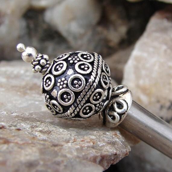 Hair Stick, Big Bali Sterling Silver Beaded Top - Sheri