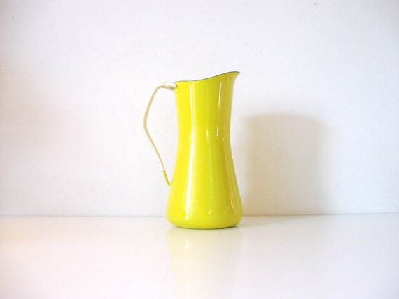 large vintage yellow kobenstyle pitcher