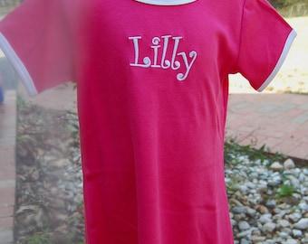 Monogrammed Pink or Navy Ringer girls dress size 2 or 6