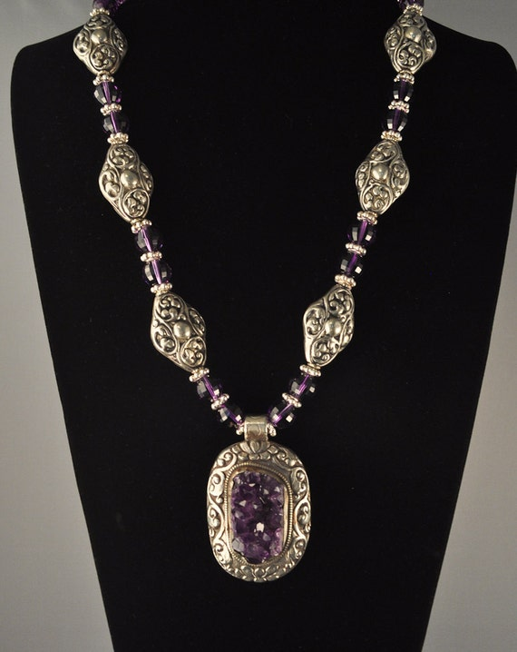 RESERVED for Sandra:  Amethyst Druzy Pendant, Faceted Amethyst and Tibetan Silver Necklace, Drusy