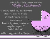 Classic Stroller- Custom Baby Shower Invitation