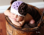 Baby hat - Purple open weave crocheted hat with cream brim and big brown flower - MADE TO ORDER