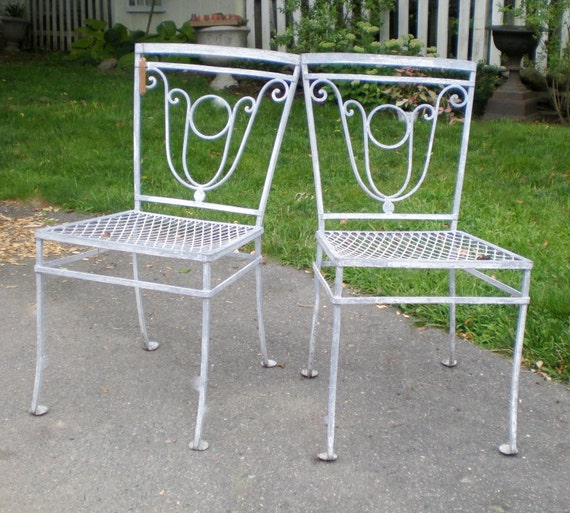 Antique wrought iron zinc garden chairs