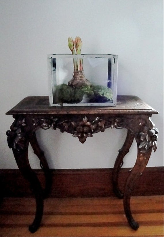 Vintage terrarium aquarium glass and metal frame