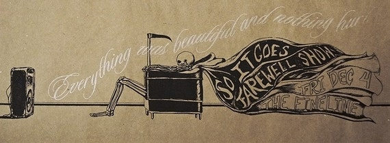 Kurt Vonnegut - Everything Was Beautiful & Nothing Hurt - So It Goes - Gig Poster