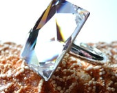 Handmade Cocktail Ring - Swarovski White Clear Silver Galaxy Rectangular Crystal - Sterling Silver