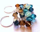 Swarovski Cluster Crystal Earrings, Mystic Swarovski Bicone Crystal Cluster Sterling Silver, Teal, Blue, Montana, Topaz Brown, Sea Opal