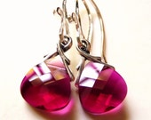 Red Crystal Earrings, Raspberry Red Swarovski Crystal Briolettes Sterling Silver, Handmade, JBMDesigns, Under 25, Fashion