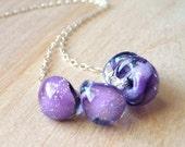 Purple Glass Lampwork Necklace, Sugar Plum Purple & Glitter Lampwork Glass Handmade Teadrops, Sterling Silver Necklace, Jewelry