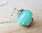 Lampwork Glass Pendant Necklace, Seafoam Green & Blue, Sterling Silver Necklace, Beach, Ocean Jewelry, Under 40