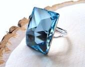 Aquamarine Ring - Swarovski Crystal Rectangular Blue Cocktail Ring- Sterling Silver Plated, Handmade, Statement Ring, Large