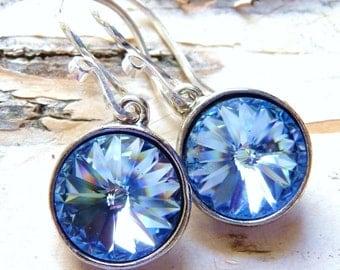 Sapphire Blue Earrings, Handmade Swarovski Light Sapphire Blue Crystal Rivolis Sterling Silver, Ocean Blue Earrings