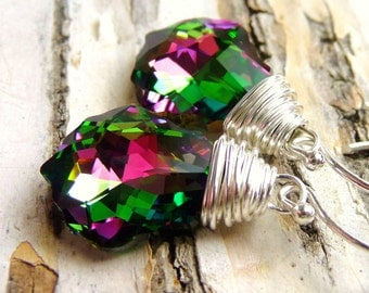 Crystal Swarovski Earrings, Magenta Pink & Green Wire Wrapped Briolettes, Sterling Silver Earrings, Handmade, Fashion