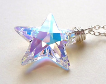 Star Necklace, Aurora Borealis Crystal Star, Swarovski AB Wire Wrapped Glass Crystal Handmade Sterling Silver Necklace