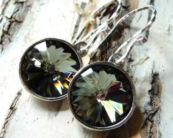 Black Diamond Crystal Earrings, Swarovski Rivoli Crystals, Sterling Silver Earrings, Gray, Grey, Gift for Her, Under 25, Christmas Gift
