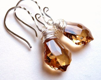 Golden Topaz Earrings, Swarovski Baroque Crystals, Sterling Silver, Wire Wrapped Earrings,  Autumn, Fall Jewelry, Wedding