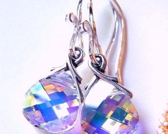 Aurora Borealis Crystal Earrings, Swarovski Crystal Briolettes, Sterling Silver, Prism Earrings, Rainbow, Gift For Her, Under 25