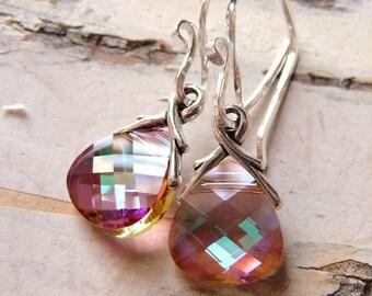 Swarovski Crystal Briolette Earrings, Golden Rose & Light Violet Crystal Sterling Silver Handmade Earrings, Christmas Gift, Gift for Her