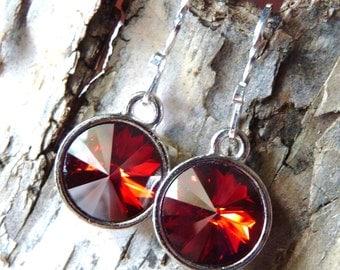 Garnet Crystal Earrings, Garnet Red Swarovski Crystal Rivolis, Red Earrings, Sterling Silver, Under 25