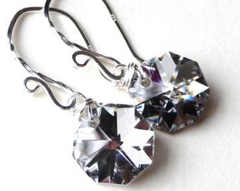 Crystal Earrings, Silver Czech Octagon Metallic Briolettes, Sterling Silver Earrings, JMBDesigns, Fashion, Glass Earrings
