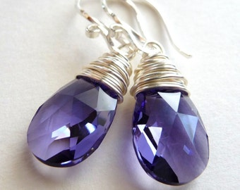 Purple Swarovski Crystal Earrings, Tanzanite Lavender Purple Swarovski Crystal Briolettes, Sterling Silver, Wire Wrapped Earrings, Fashion