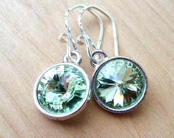 Spring Green Earrings, Swarovski Crystal Briolettes, Sterling Silver, Chrysolite Meadow Light Green, Rivoli Earrings, Summer Fashion