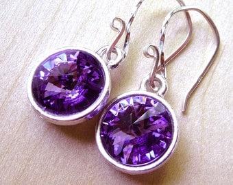 Purple Crystal Earrings - Rich Tanzanite Purple Swarovski Crystal Earrings, Sterling Silver, Rivoli Earrings, Fashion