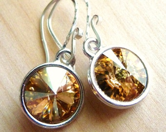Swarovski Crystal Earrings, Golden Champagne Briolette Drops, Sterling Silver Dangle Earrings, Fashion, Fall, Autumn Fashion