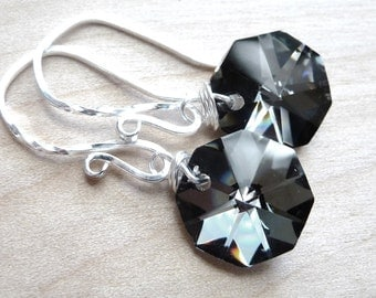 Black Crystal Earrings, Black & Silver Czech Octagon Metallic Briolettes, Sterling Silver Earrings, Fashion, Modern