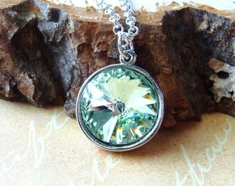 Spring Green Swarovski Crystal Necklace, Chrysolite Meadow Green Pendant Necklace, Fashion Necklace, Under 50