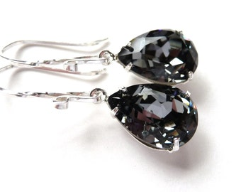 Swarovski Rhinestone Crystal Earrings, Black Diamond Pear Earrings, Sterling Silver Earrings, Silver & Black, Fashion