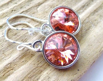 Rose Peach Swarovski Crystal Earrings, Rose Peach Pink Prism Crystal Briolette Rivolis, Sterling Silver, Fashion, Under 25
