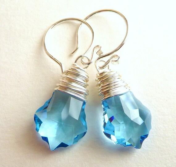 Handmade Aquamarine Blue Swarovski Baroque Crystal Sterling Silver Earrings