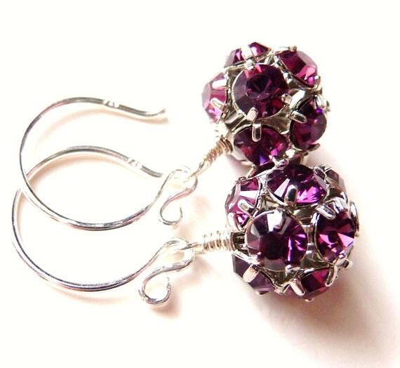 Amethyst Purple Swarovski Crystal Rhinestone Ball / Sphere Sterling Silver Handmade Dangle Earrings
