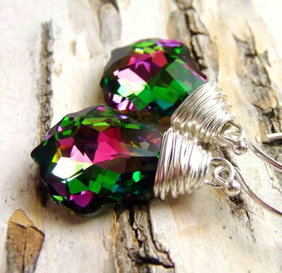 Crystal Swarovski Earrings, Magenta Pink & Green Wire Wrapped Briolettes, Sterling Silver Earrings, Handmade, Fashion