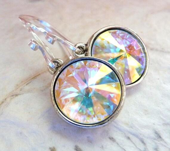 Swarovski Crystal Earrings, Aurora Borealis White & Clear Rainbow Prism Briolette Rivolis, Sterling Silver, Bridal Earrings, Wedding Jewelry