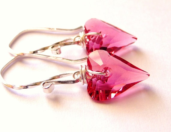 Pink Swarovski Heart Earrings, Wild Heart Indian Pink Crystal Wire Wrapped Sterling Silver, Fashion, Under 25