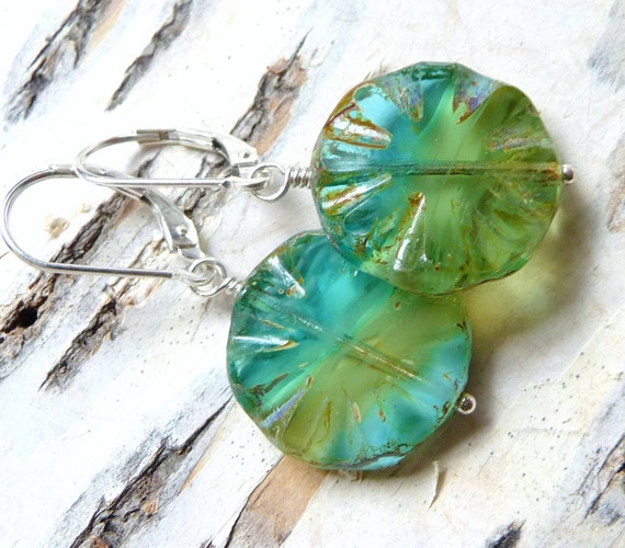 Spring Green & Blue Glass Earrings- Blue Green Czech Circle Discs, Picasso, Sterling Silver, Free Shipping, Fashion