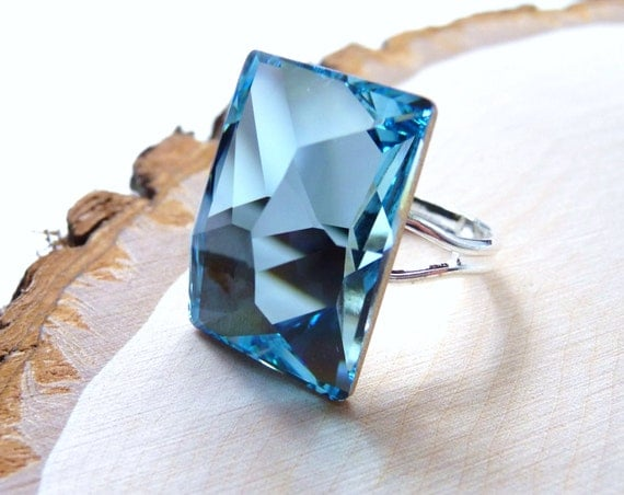 christmasinjuly Sale Aquamarine Ring - Swarovski Crystal Rectangular Blue Cocktail Ring- Sterling Silver Plated, Handmade, Statement Ring,